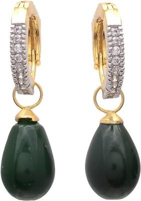 My Sara Green Drop Cubic Zirconia Brass Drop Earring