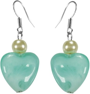Crystals & Beads Turquoise Blue Colour Heart Bead & White Pearl Bead Acrylic, Glass, Crystal Dangle Earring