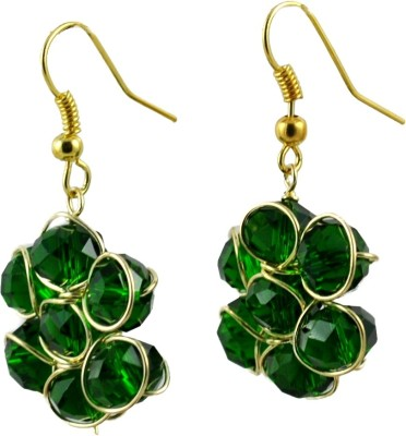 My Sara Earing Casual Hit Green Color Cubic Zirconia Copper, Brass Dangle Earring