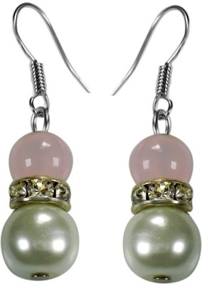 Crystals & Beads Rose Quartz Colour Round Moonball & White Pearl Bead with Diamond Spacer Acrylic, Glass, Crystal Dangle Earring