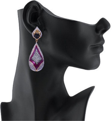 YUVEN Purple Enamel With Zircon Brass Drop Earring