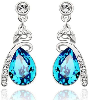 Wearyourfashion Ocean Blue Water Drop Swarovski Crystal Alloy Drop Earring