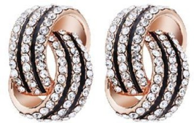 ACW Gold Plated Mesh Studded with Fine White Stones and Black Enamel Earring for Women Alloy Stud Earring