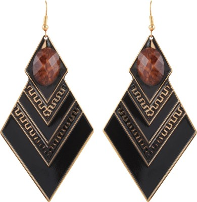 Gracent Black and Brown Diamond shaped Metal Dangle Earring