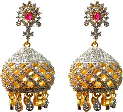 Jdj Imitation Jewelleris Taj Jhumki White Zircon Brass Jhumki Earring