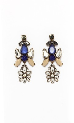 Rudrani Flower Shape Pendant Alloy, Crystal Drop Earring