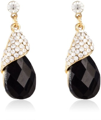 Colors of Sin Faceted black crystal with white crystals Alloy Dangle Earring, Drop Earring