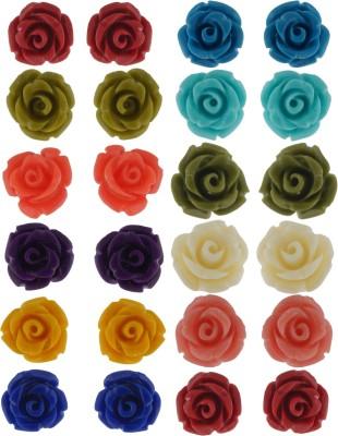 FreshMe Fashion Jewellery Flower Shape Plastic Earring Set