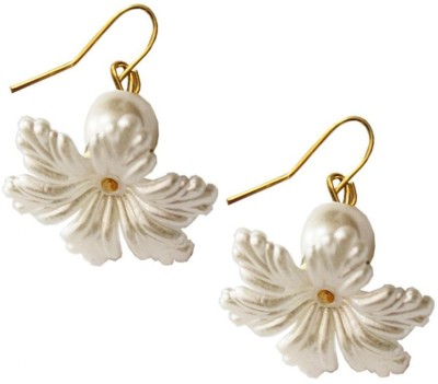 Beingwomen Elegant White Flower Alloy Dangle Earring