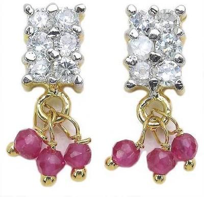 Johareez Floral Cubic Zirconia Brass Dangle Earring