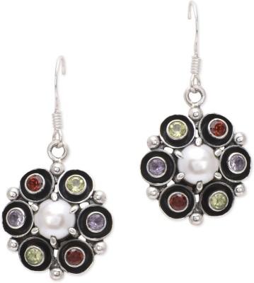 Watch Me Black Rimmed Multicolored - Light Pearl, Amethyst, Garnet, Peridot Sterling Silver Dangle Earring