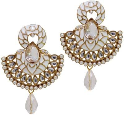 Jaipur Mart New Designer White Kundan Polki Alloy Chandelier Earring
