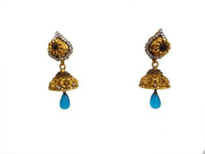 W Stop Caker Jumki Crystal Brass Jhumki Earring
