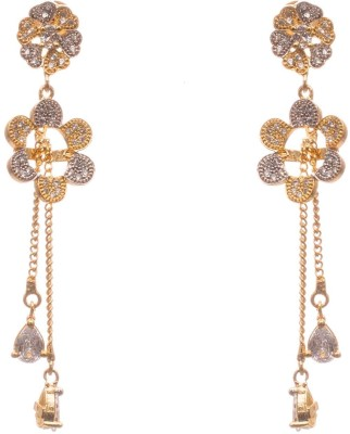 LAHARI ENTERPRISES lahari010 White Zircon, Diamond Brass Drop Earring