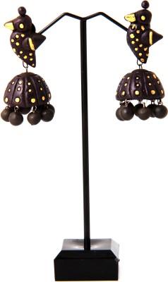 Adaa Handmade Vibrant Colored Jhumka Terracotta Jhumki Earring