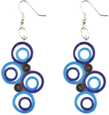 Trendmania Multi blue round and round paper quilled earrings Paper Dangle Earring