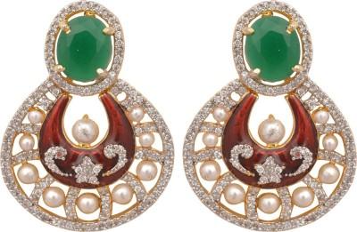 Womaniya american diamond chand bali Alloy Chandelier Earring