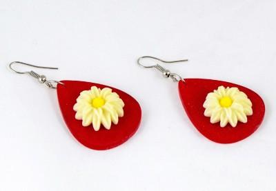 Harini Red Petal Shape Floral Center Acrylic Dangle Earring
