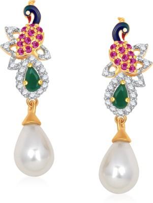 Meenaz Peacock Earrings For Girls and Women Cubic Zirconia, Crystal Alloy Drop Earring