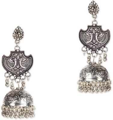 Watch Me Twin Peacock German Silver Jhumki Earring