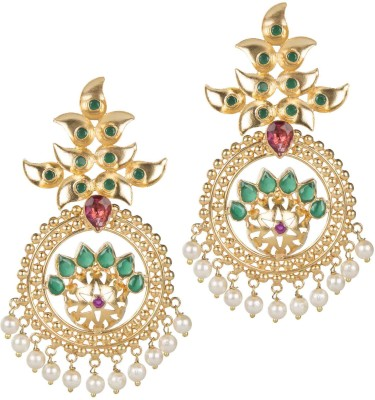 Mehtaphor Kajri Crystal Brass Chandbali Earring