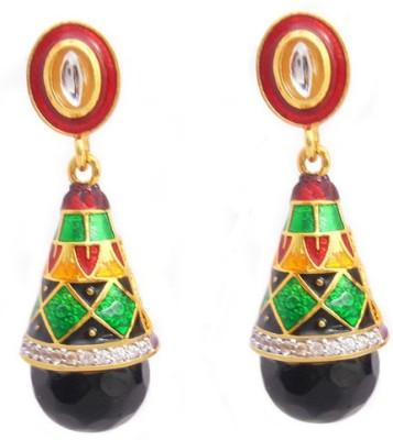MK Jewellers BEAUTIFUL MEENA AD SHANKU EARING Brass Earring Set