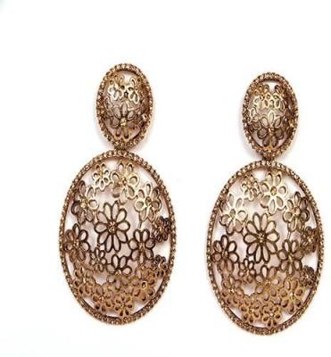 Johara Fashion Sparkier Stone Round Bali Metal Chandelier Earring