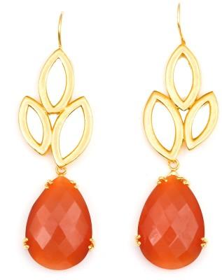 Magiq Trinayani-Orange Stone, Brass Dangle Earring