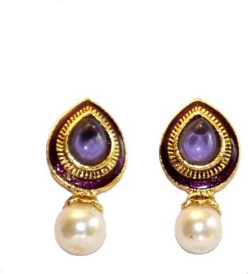 Women Trendz Golden Polish With Pearl And Stone Brass Drop Earring