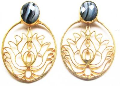 Bhrti semi precious Gold plated Agate Brass Stud Earring