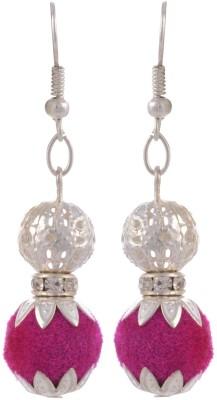 Heartzy Silver Alloy Pink Valvet Ball Dangle & Drop Fashion Alloy Drop Earring
