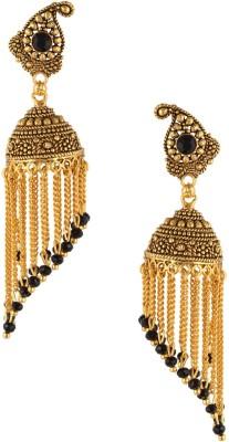 Fashionaya Black Jhumar Crystal Brass Drop Earring