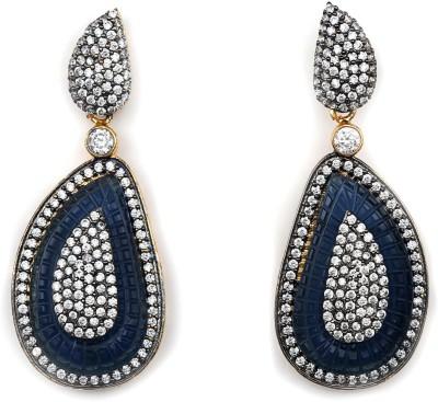 Magiq Ad-Leaf-Black Stone, Brass Drop Earring