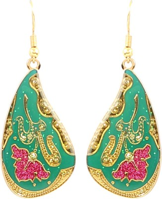 Jewel Funk Green and Gold Dual Toned with intricate surface work Alloy Dangle Earring