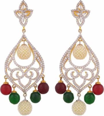 TUAN Creatively Designed Dangle Cubic Zirconia Brass Drop Earring