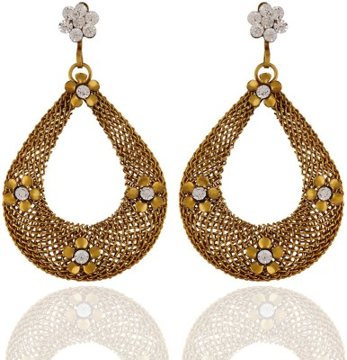 One Stop Fashion Smart Antique Drop Shaped Gold Colour Alloy Earrings Alloy Drop Earring