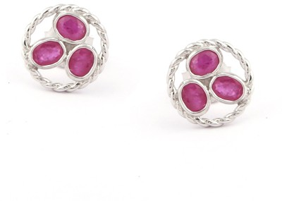 RR FOREVER Gemstone Ruby Silver Stud Earring