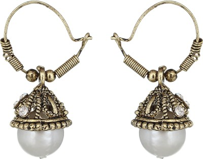 The Gallery Oxidized Gold Plating Zircon Alloy Jhumki Earring