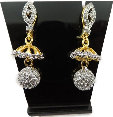 Bharat Sales White Color With Beautiful Casual Hit Cubic Zirconia Copper Drop Earring