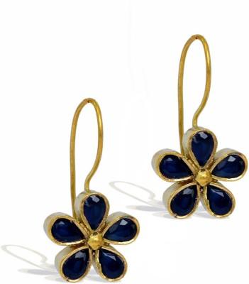Jaipur Mart Hot Fashion Flower Shape Black AD Tops Brass Dangle Earring