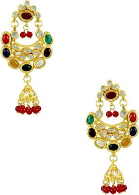 Orniza Kundan in Multi-Colour Color with Golden Brass Chandbali Earring
