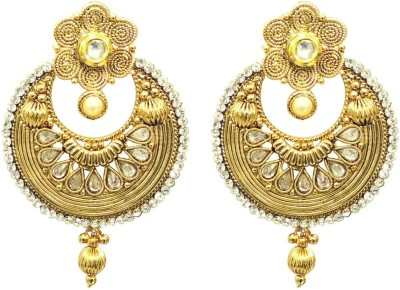 Satyam Jewellery Nx Traditional Golden For Women Pearl Copper Drop Earring