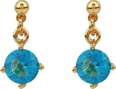 Vaishnavi High Quality 22kt Gold Coated Round Shape Design Shining Swarovski Elements Stays Long Life Copper Drop Earring