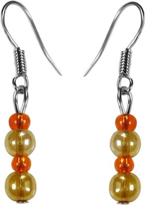 Crystals & Beads Gold Round Crystal & Orange Colour Crystal Acrylic, Glass, Crystal Dangle Earring