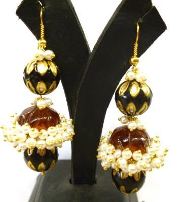 Prism Jewels Semi-Precious Jewelry Onyx Alloy Jhumki Earring