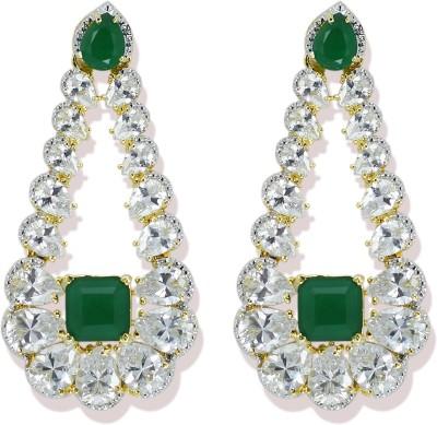 Zaveri Pearls Sparkling Semi Precious Embreald andS CZ Stone Brass Drop Earring