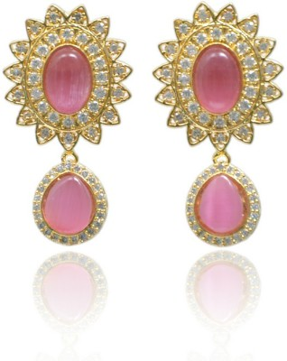 Jaipur Mart Designer Ad And Pink Glass Stone Studded Cubic Zirconia Brass Drop Earring