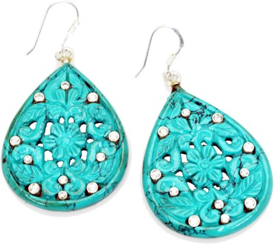 Riyo Agreeable Turquoise Turquoise Sterling Silver Dangle Earring
