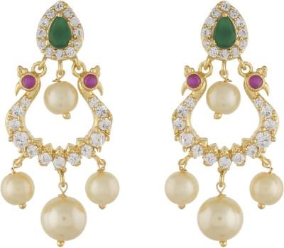 Jewel Planet Peacock Shape Pearl Alloy Chandbali Earring
