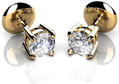 Rajgharana Golden Shine Cubic Zirconia Sterling Silver Stud Earring